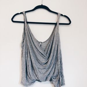 FREE PEOPLE Gray Swooped Tank Top